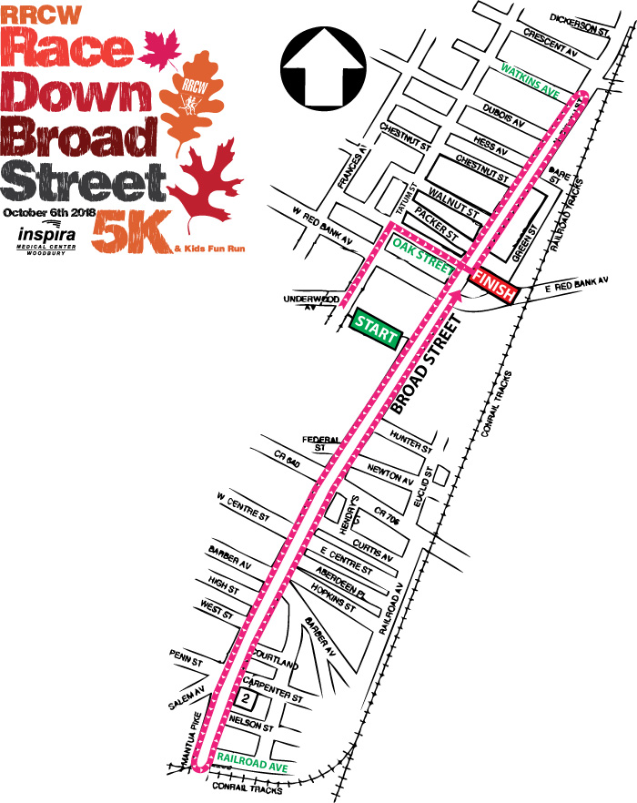 RRCW Race Down Broad Street 5K Course Map